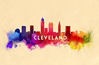 Cleveland, Ohio - Skyline Abstract (12x18 Art Print, Wall Decor Travel Poster)