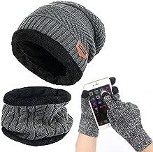 Affei Winter Beanie Hat Scarf Set Warm Knit Hat Thick Knit Skull Cap Touch Screen Glove Unisex