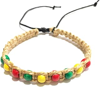 LAVIP Leather Men Rasta Bracelets Hemp Bracelet-Black Bracelet with Jamaican Color Beads Handmade Braided with Natural Rope Theme Surfer Summer Jewelry