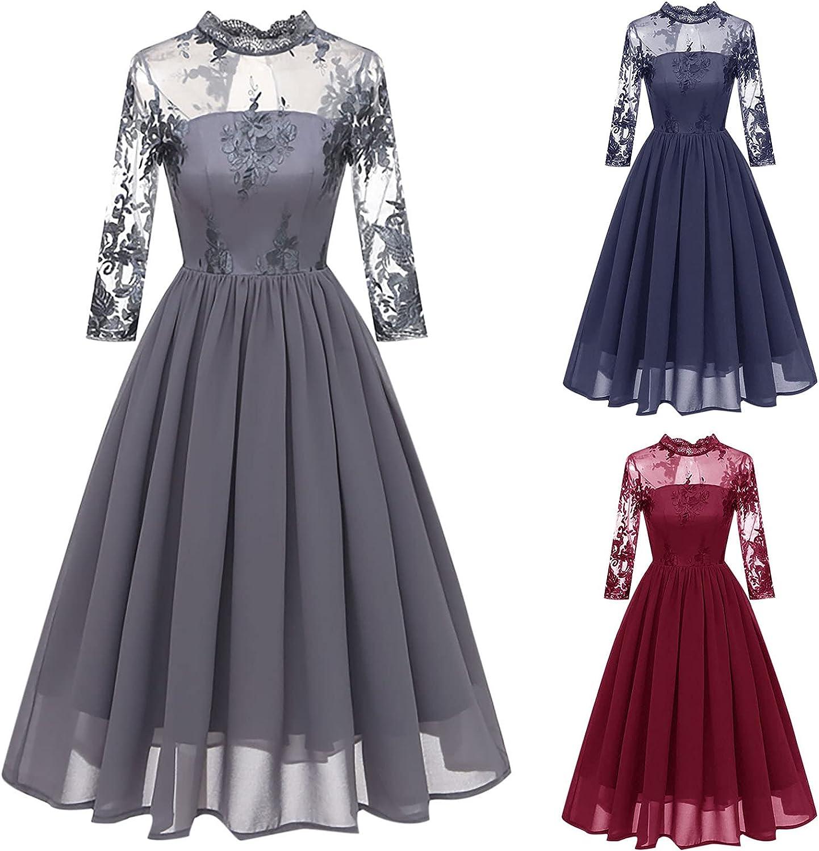 Vintage Dress Women Mesh Sheer Party A-line Swing Dress 3/4 Slee