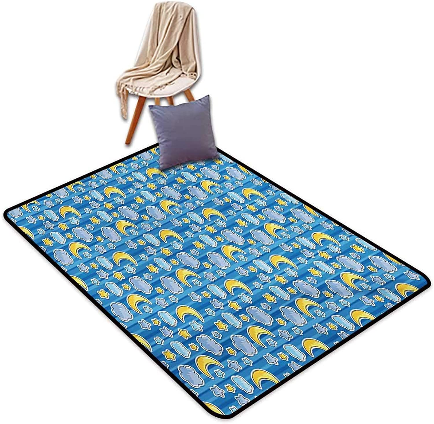 Baby Indoor Super Absorbs Mud Doormat Abstract Skyline with Stars Clouds and Crescent Moon greenical Striped Backdrop Doodle Water Absorption, Anti-Skid and Oil Proof 48  Wx71 L bluee Yellow