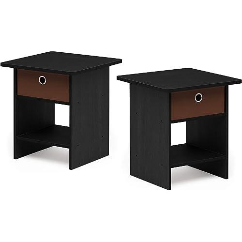 2-Pack, Americano//Medium Brown Furinno Andrey End Table Nightstand Set