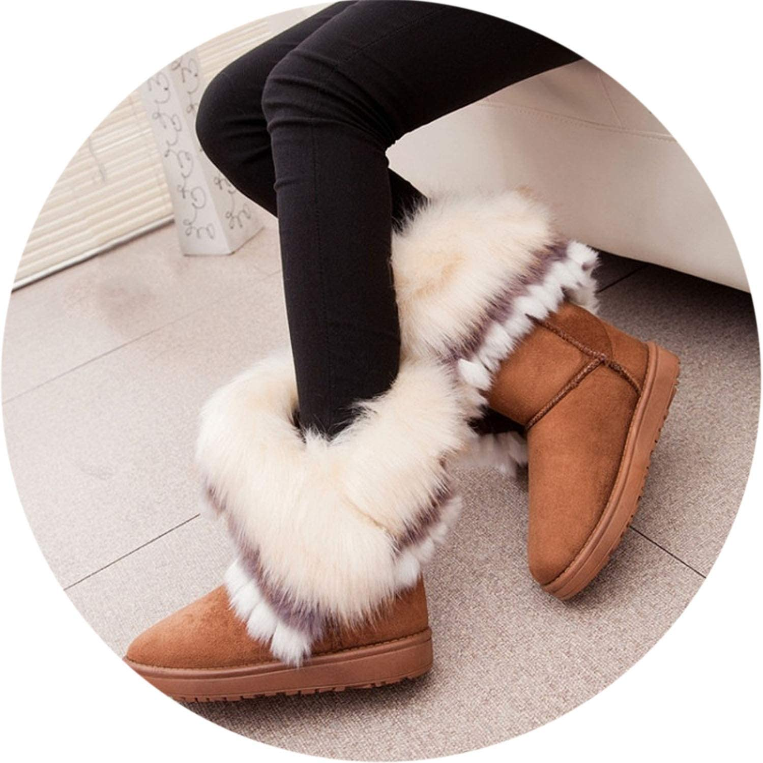 Fox Snow Women Winter Boots Ankle Booties Fur Bota Casual shoes Fuzzy Fether shoes Cute