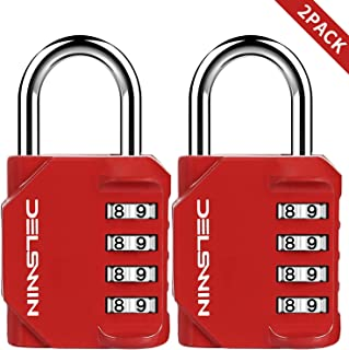 2 Pack Combination Lock for Gym - Resettable Dial Combination Locker Lock for School,Weatherproof Outdoor Hasp Lock for Fence,Mailbox,Red