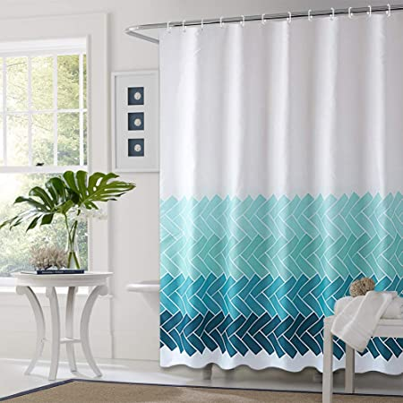 """Bathroom Curtain Fabric Shower Curtain Liner Bathroom Decorative Polyester Waterproof with 12 Hooks Machine Washable - 71""""x71"""", Blue Gradient Stripes"""