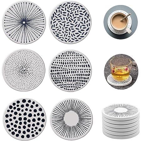 Nice Dream Saugfähige Untersetzer Für Gläser Keramik Untersetzer Mit Korkrücken Für Tassen Tisch Bar Glas 6 Stück Mehrfarbig Küche Haushalt