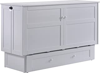 Night & Day Furniture MUR-CLV WH and MND-GMF-TRI-QEN Murphy Cabinet Bed with Mattress, Queen, White