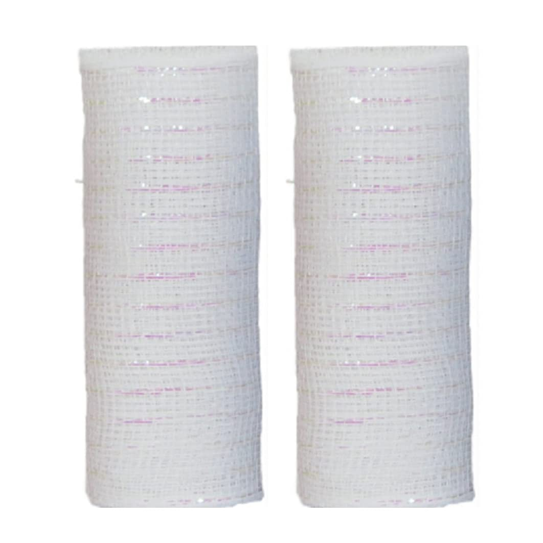 Decorative Mesh Rolls for Crafting Wreaths, Centerpieces, Displays, Table Drape and More, 5 Yards (2 Rolls, White)