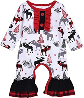 T TALENTBABY Baby Baby Jungen Mädchen Weihnachten Langarm Reißverschluss Strampler gestreift Schlafanzug Schlafanzug Schlafanzug
