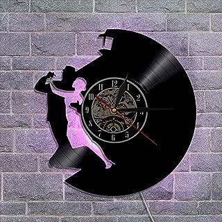 ビンテージビニールレコードの壁掛け時計、 12インチナイトライトクロック リビングルームの寝室の壁の装飾 アートランプリモコン,C