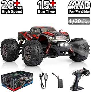 Hosim 1:20 Scale Remote Control Car 9145, 28km/h Fast Speed All Terrain RC Truck,4x4 Off-Road RC Monster Truck, 4WD 2.4Ghz Radio Controlled Electric Hobby RC Car for Kids and Adults (Red)