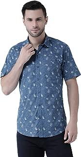Zeal Floral Printed Cotton Slim Fit Half Sleeves Shirt for Men Blue