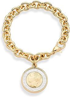 Miabella 18K Gold over Bronze Italian Genuine 500-Lira Coin Charm Dangle Rolo Link Bracelet for Women