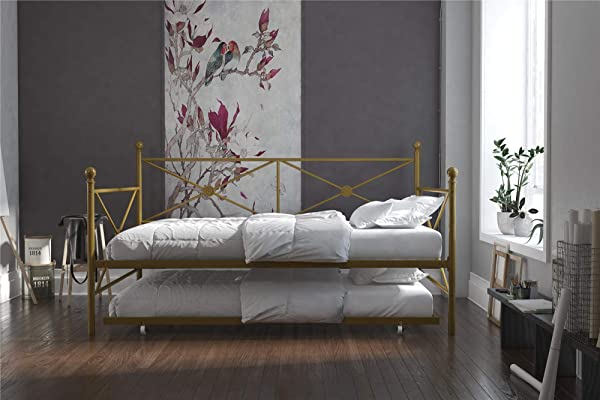 DHP Lina Metal Daybed With Trundle Full Size Sofa Bed Frame Gold