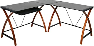 OneSpace Modern L-Shaped Glass and Wood Desk
