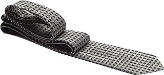 Gravata cinza com quadrados pretos e pontos lilás