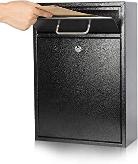 Kyodoled Steel Key Lock Mail Boxes Outdoor,Locking Wall Mount Mailbox,Security Key Drop Box,Collection Boxes,16.2Hx 11.22Lx 4.72W Inches,Black X Large