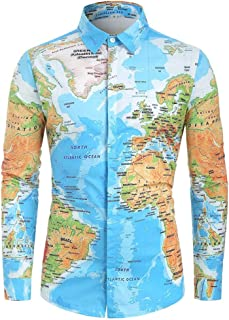 Shirt for Mens Brief World Map 3D Print Long Sleeve Turn-Down Collar T-Shirt Top Blouse