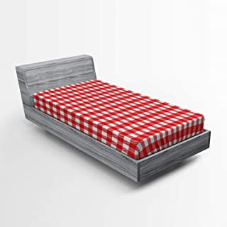Lunarable Vintage Fitted Sheet, Vintage Style Checkered Pattern Christmas Inspired Classical Traditional Print, Bed Cover with All-Round Elastic Deep Pocket for Comfort, Twin XL Size, White Red