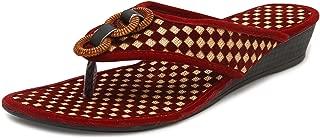 Midsole Womens Red Check Texture Fashion Heel Flatform - FT6021C