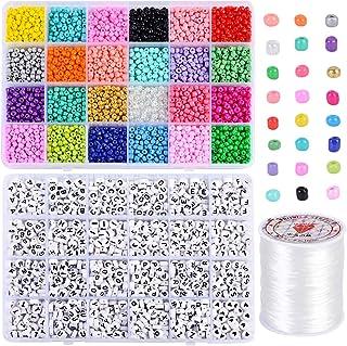 Souarts 4000pcs 24 Perles de Rocaille 4mm Couleurs Perles Poney Loisirs Créatifs +1200Pcs 4 * 7mm Perles de Lettre avec 1 ...