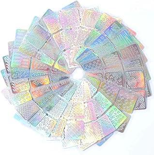 AKOAK 36 Designs 72 Pieces Hollow Laser Nail Paste Stickers,Nail Vinyls Stencils Nails Stickers Set for Nail Art Design,12 Sheets