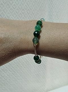 Pulseras de plata y de piedras semipreciosas de ágatas facetadas en verde. Adaptables 18,5 cm a 19,5 cm.