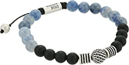 Textured Ball and Chalcedony Bead Bracelet