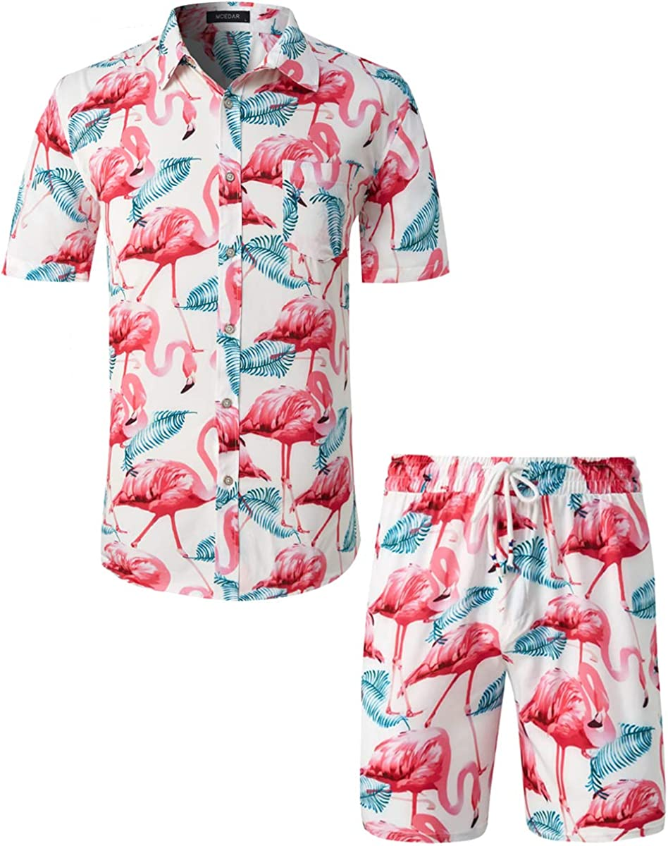 MCEDAR Men's Hawaiian Short Sleeve Aloha Suits Prin Shirt Flower 2021 new Outlet SALE
