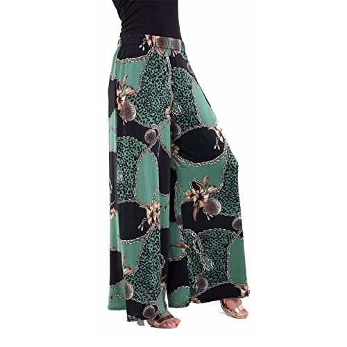 6ef6646c5e3e2 Candid Styles Womens Ladies Wide Leg Palazzo Printed Baggy Flared Skater  Trouser Pants 16-26
