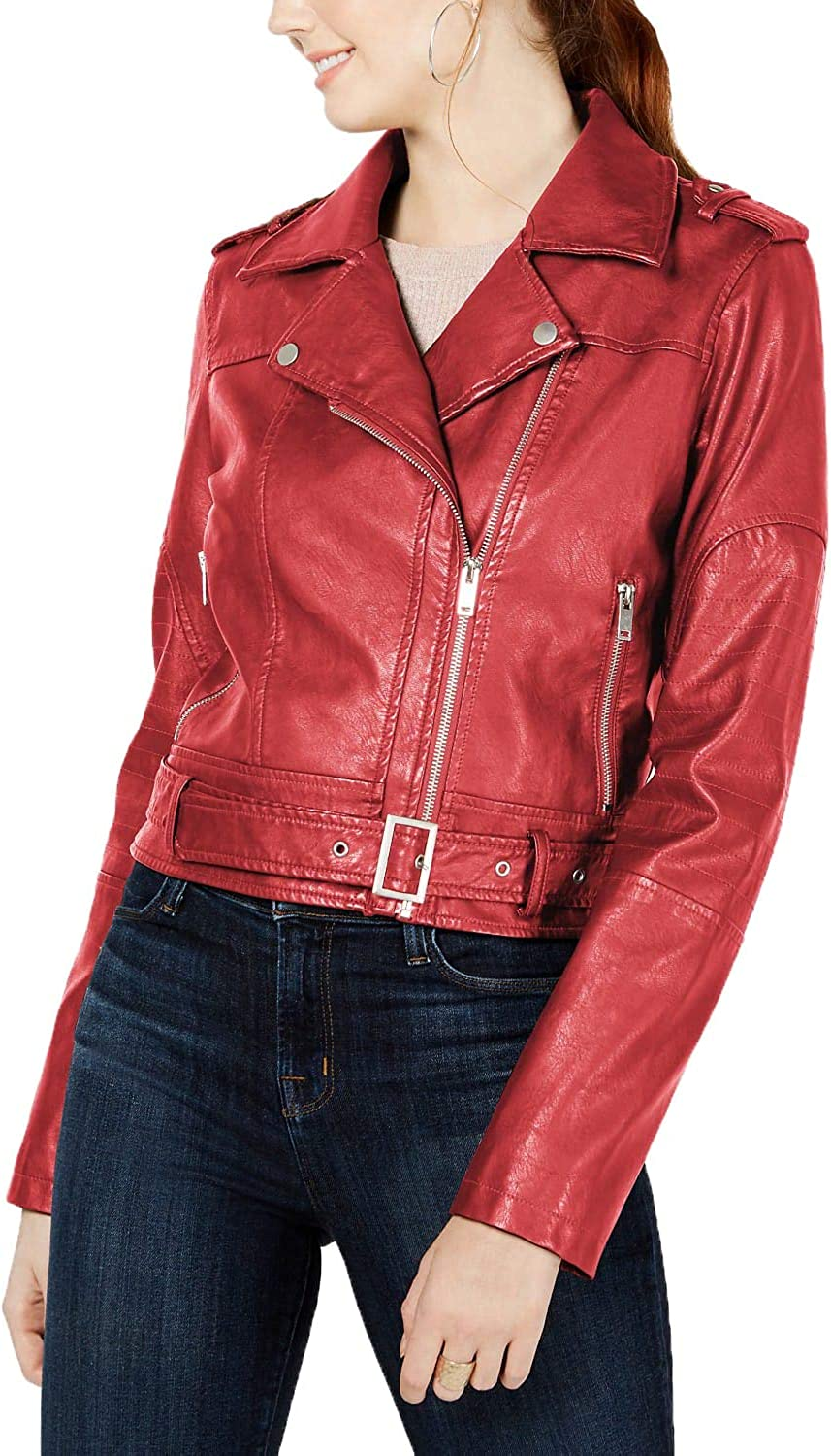Collection Women's Wine Faux Leather Belted Moto Jacket
