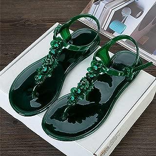 Hemlock Women Bling Flats Sandals Shoes Slip-on Slippers Flip Flops Beach Water Playing Flats (US:7, Green)
