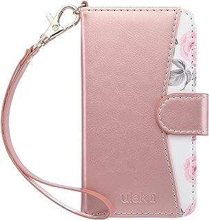 ULAK iPhone SE/5S/5 Flip Wallet Kickstand Case for Women Girls, Premium PU Leather Case Card Holder ID Slot Wristlet Hand Strap Shockproof Full Protective Cover,Rose Gold Flower