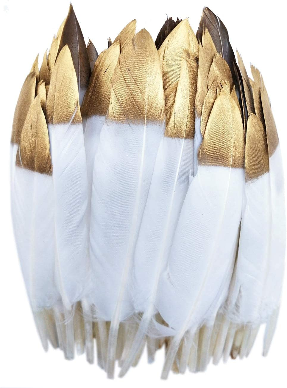 50pcs 4-6 inches Small Glitter Phoenix Mall Gold Goose for Dipped Large-scale sale Cr Feathers