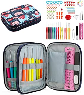 Katech 103 Pieces Crochet Hook Kits DIY Hand Yarn Weaving Tools - Ergonomic Small Size Lace Crochet Hooks and Colorful Sof...