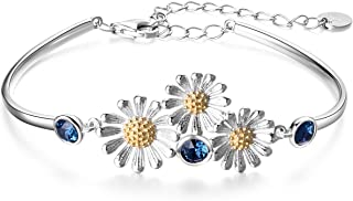 925 Sterling Silver Daisy Sunflower Bangle Bracelet Ladybug Cuff Bracelets for Women Jewelry Gifts