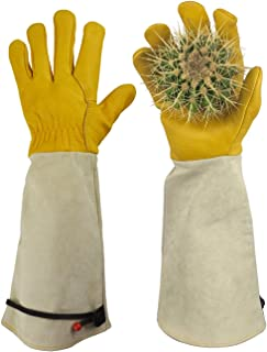 Gardening Gloves, Professional Puncture Proof Gloves for Rose Pruning & Cactus Trimming, Long Leather Garden Gloves Gifts for Women & Men- Full Grain Cowhide & Pigskin (Thorn Proof) (Medium)