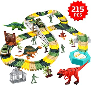 Meland Dinosaur Race Track Car Toy Set - 192pcs Flexible Trains Tracks Playset Gifts for 3 4 5 6 7 8 Year Old Boys with 4 Dinosaurs, 2 Race Cars