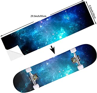 Street FFX Fashion Funny Skateboard Cruiser Deck and Balance Board Stickers Decals Grip Tape - 9.5 x 33.5 Inches - Blue Purple Galaxy