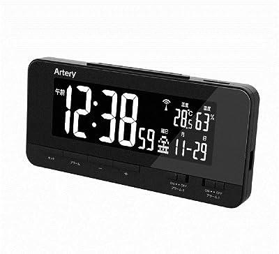 ADESSO(アデッソ) 目覚まし時計 デジタル 電波時計 レインボーディスプレイクロック ダブルアラーム ブラック FSZ-01 サイズ:(約)高さ8.2×幅17.6×奥行き3.8cm