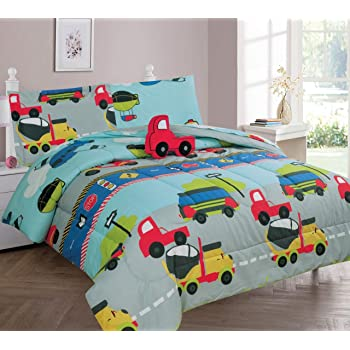 GorgeousHomeLinen 6-PC Twin Complete Bed in A Bag Comforter Bedding Set with Furry Friend and Matching Sheet Set for Kids (Twin, City Truck)