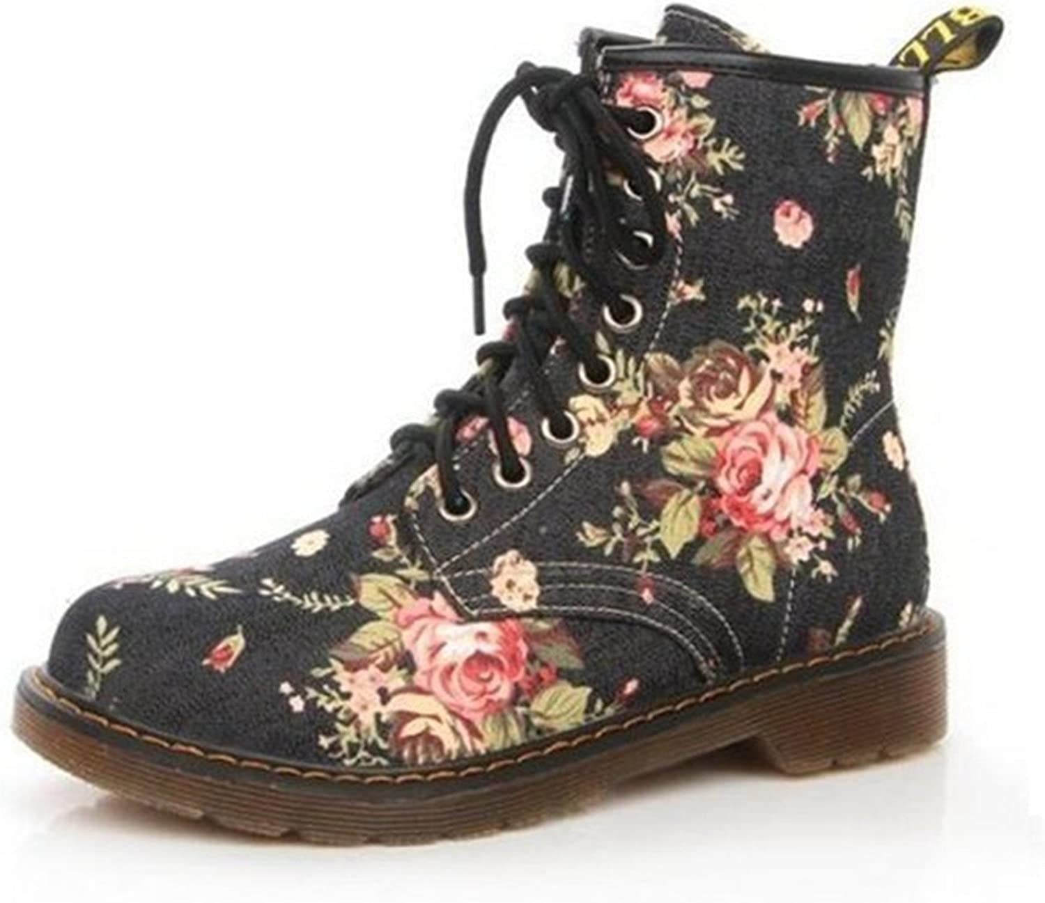 Jeff Tribble 35-40 Plus Size Fashion Autumn Beautiful Flower shoes Woman Lace-Up Motorcycle Flat Ankle Boots
