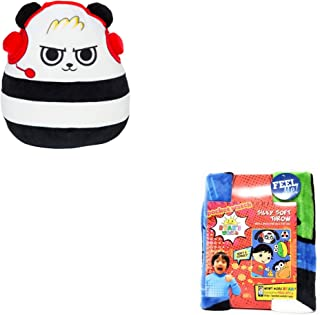 "JGT Boys Girls Kids Squishmallows Kellytoy Ryan's Ryan Ryans (1) Combo Panda Pocket Watch Squishmallow 12"" Super Soft Plush Toy Pillow (Bonus: Mystery Squishy Figure) (1) Silky Soft Throw 40""x50"""