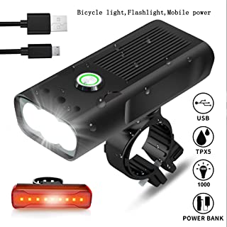 qinyu USB Rechargeable Bicycle Headlight, 3 LED 1000 Lumen Runtime 10 Hours Built in Battery Bicycle Headlight,Free LED Taillight,Waterproof Accessories Aluminum Alloy Cycling Light Safety Flashligh
