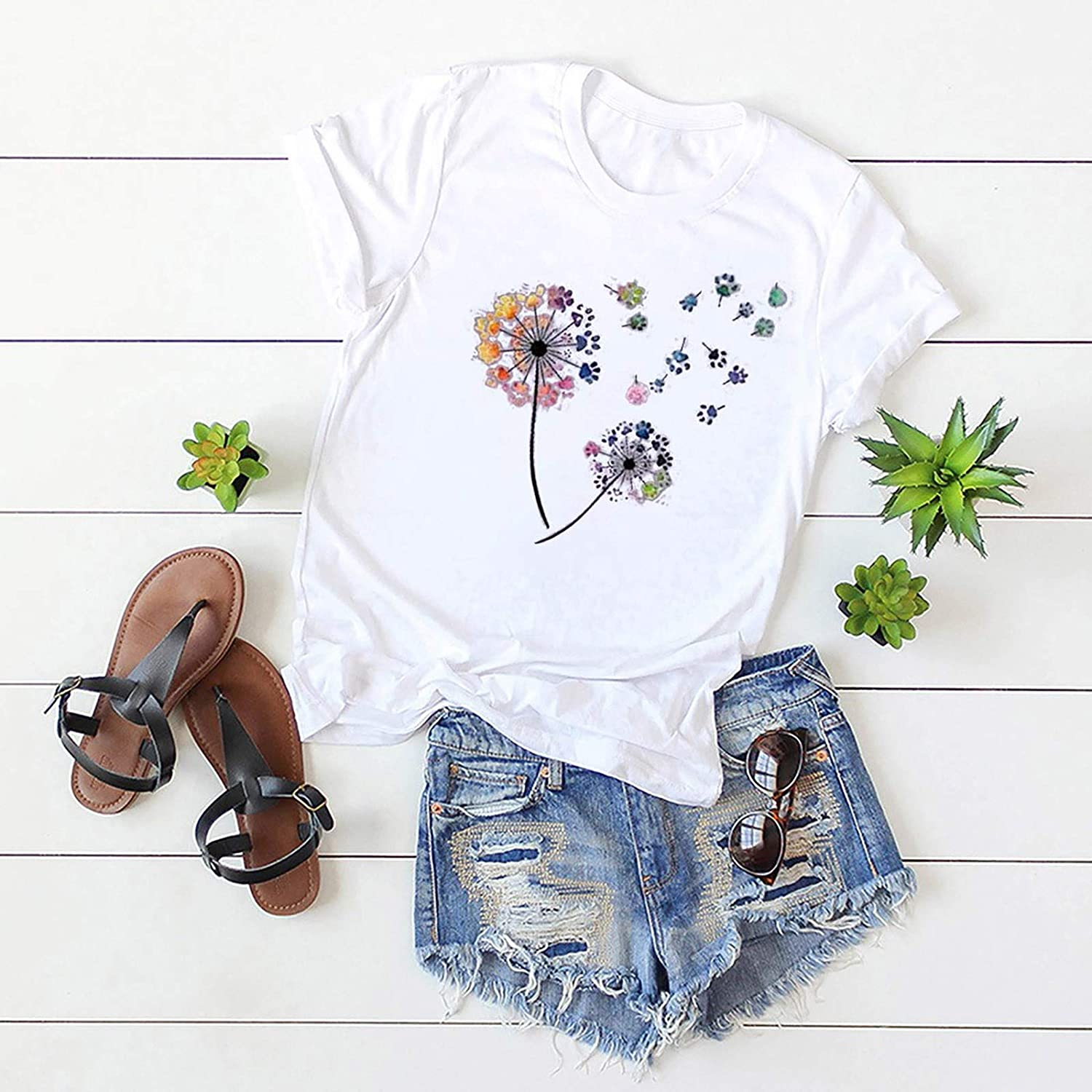 FABIURT T-Shirt for Women,Womens Summer Casual Danelion Printed T Shirts Comfy Short Sleeve Round Neck Graphic Tees Tops