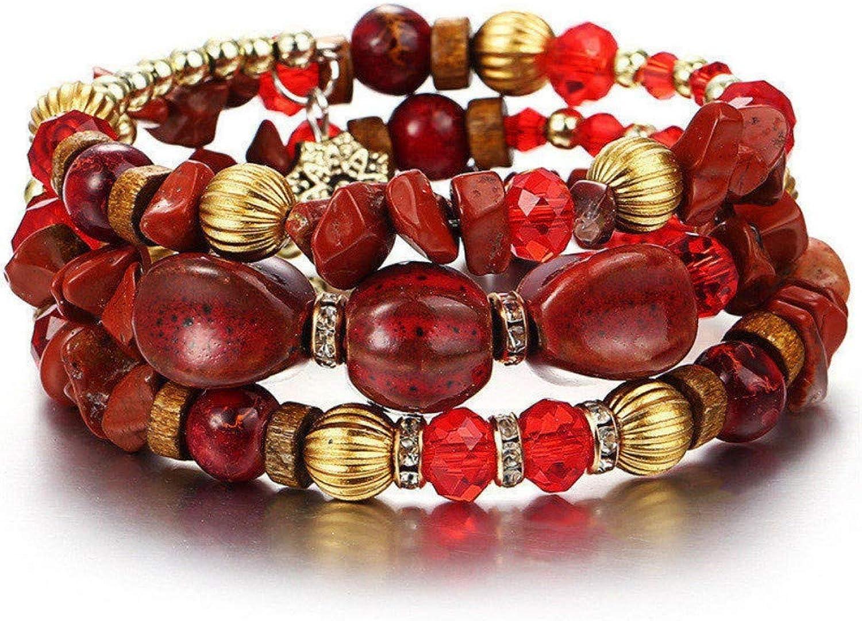 Bracelet Men,Vintage Tassel Resin Stone Red Bracelets Womens Multilayer Beads Bracelet Bohemian Women Bracelet Jewelry