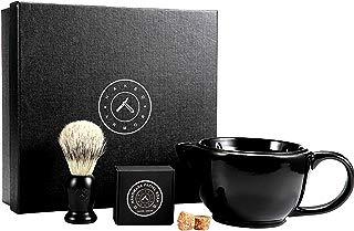 Savanna Shaving Scuttle Mug - Mens Shaving Bowl Set, Create Rich Shaving Cream Warmer, Keep Your Lather Hot Shaving Mug, Brush & Soap Included. Handmade Pottery ~ Your Face Will Sing, Shave Like King