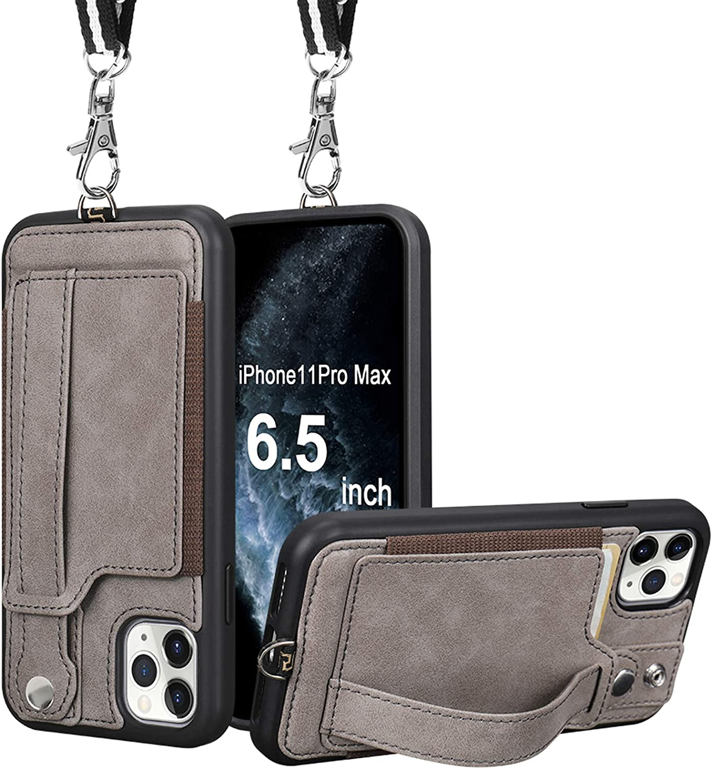 iPhone 11 Pro Max Wallet Case, TOOVREN iPhone 11 Pro Max Case Protective Cover with Leather PU Card Holder Adjustable Detachable iPhone Lanyard Stand Strap for iPhone 11 Pro Max 6.5 Inch 2019 Gray