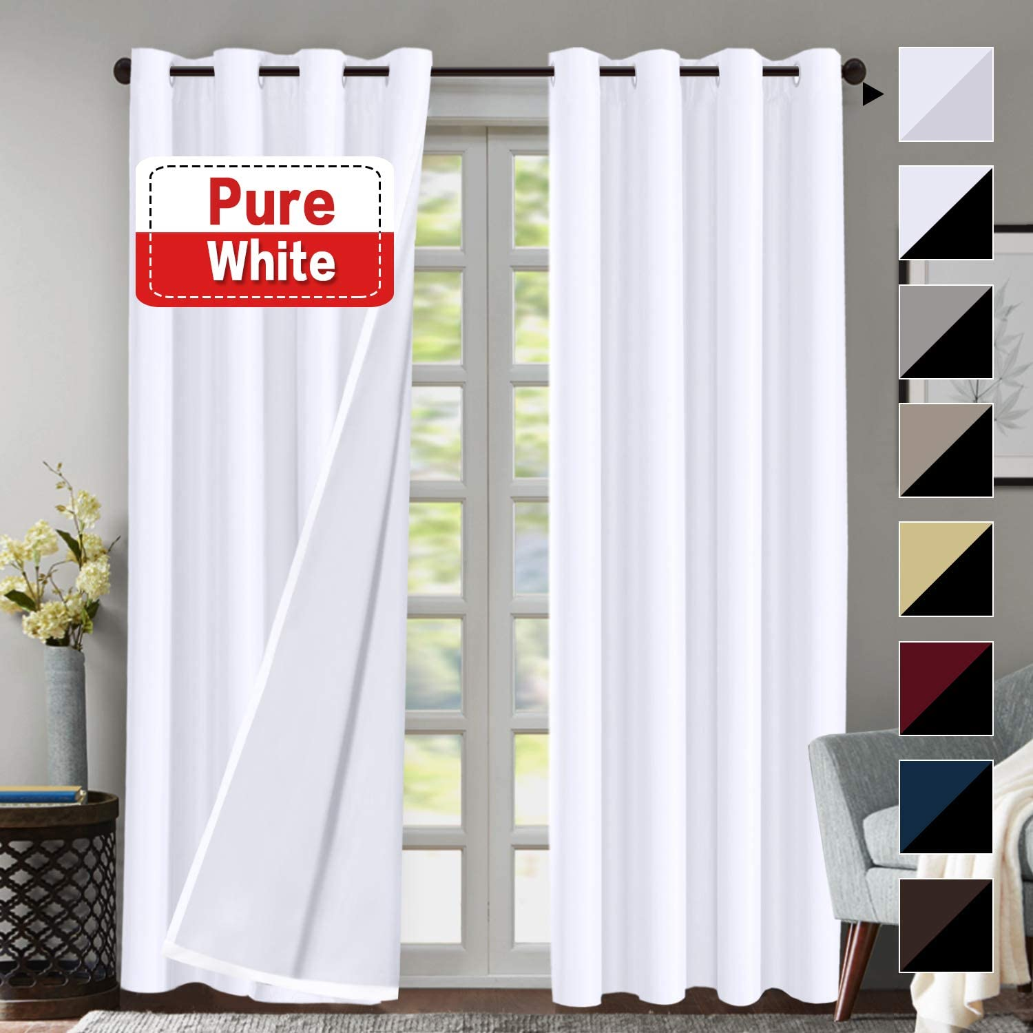 Flamingo P White Blackout (2 Layers) Curtains Elegant Lined Faux Silk with Blackout White Liner Panels Drapes Thermal Insulated Window Treatment Grommet 2 Panels, 108 Inch Length