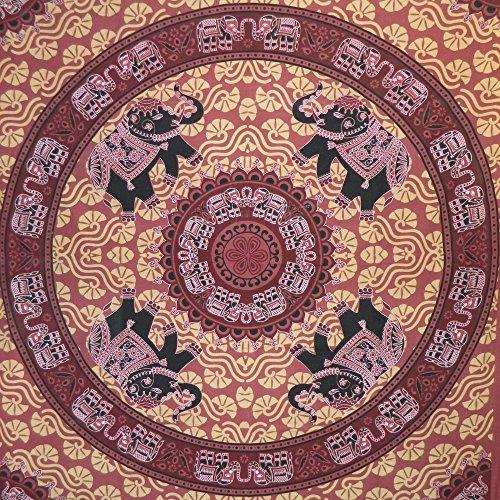 IB Tagesdecke rote Schwarze Elefanten 225 x 205 cm Überwurf indische Decke Vorhang